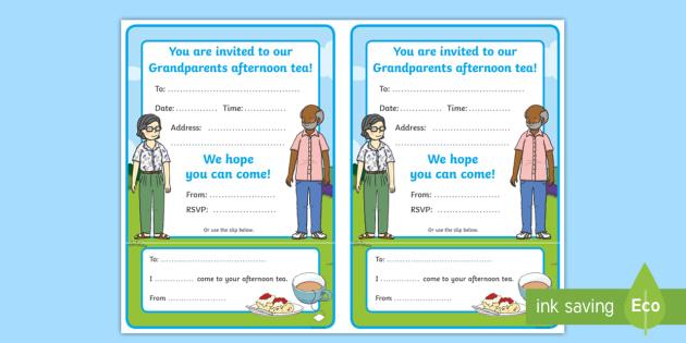 Grandparents Day Editable Invitation Cards
