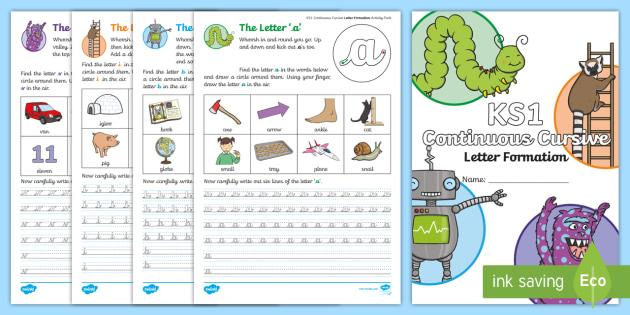 new ks1 continuous cursive letter formation practice activity booklet. Black Bedroom Furniture Sets. Home Design Ideas
