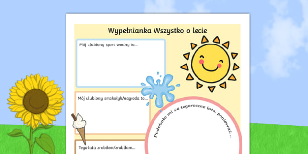 Letnia wypełnianka po polsku, worksheet