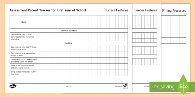 New Zealand First Year of School Writing Assessment Tracker - Literacy, year 0-1, Writing, Assessment