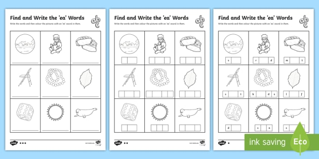 Ea' Words Differentiated Worksheets - Phonics Resource - Twinkl