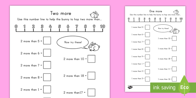 One More and Two More Worksheet - math, one more, two more ...
