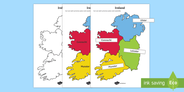Map Of Ireland With Counties And Provinces.Build Ireland Provinces And Counties Jigsaw Worksheet Activity Sheets