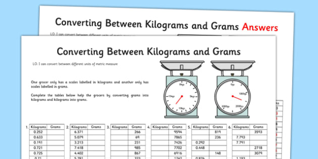 Converting between grams and kilograms worksheet activity - How to convert liter to kilogram ...