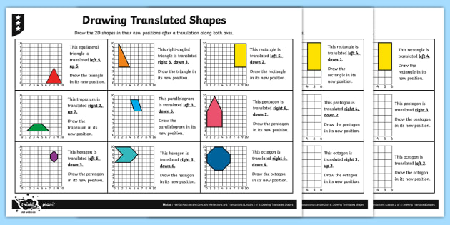 Drawing Translated 2d Shapes Differentiated Worksheet Worksheets