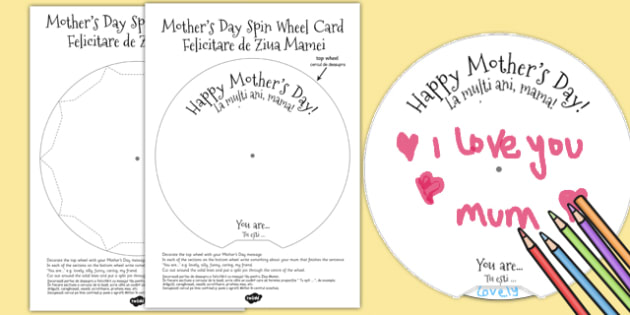 Mother's Day Spin Wheel Card Romanian Translation - romanian, mothering Sunday, mother, mum