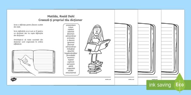 Matilda - Creează-ți propriul dicționar cu vocabularul de bază - Fișe de lucru