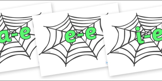 Modifying E Letters on Spiders Web - Modifying E, letters, modify, Phase 5, Phase five, alternative spellings for phonemes, DfES letters and Sounds