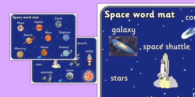 Space Word Mat (All Text Version) - Space, word mat, writing aid, topic words, moon, sun, earth, mars, ship, rocket, alien, launch, stars, planet, planets