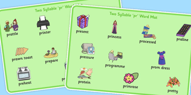 Two Syllable PR Word Mats - sen, sound, pr sound, pr, sen, two syllable, word mats