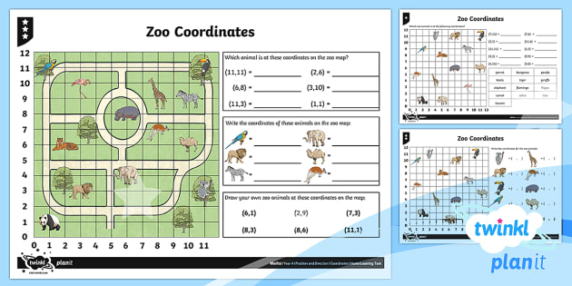 PlanIt Maths Y4 Position and Direction Zoo Coordinates Home Learning Tasks