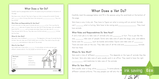 NEW * Second Grade What Does a Vet Do? Cloze Reading Worksheet ...