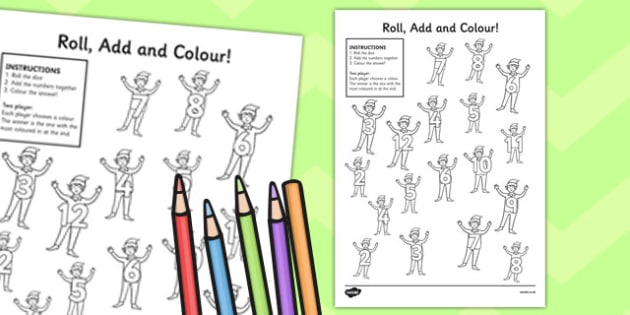 Elf Themed Roll and Colour Worksheet - roll, colour, elf, sheet