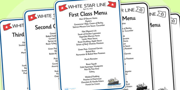 Titanic First Second And Third Class Role Play Menus Titanic