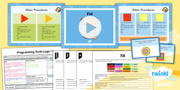 Computing: Programming Turtle Logo: Year 4 Fill Lesson Pack 4