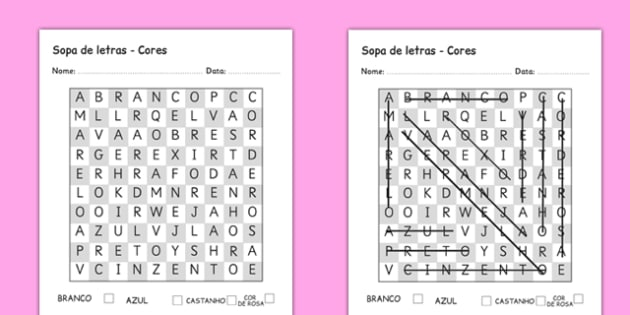 Sopa de letras - Cores Portuguese - portuguese, colours, word search, wordsearch