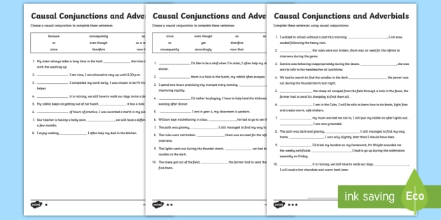 Causal Conjunctions And Adverbials Differentiated Activity Sheets
