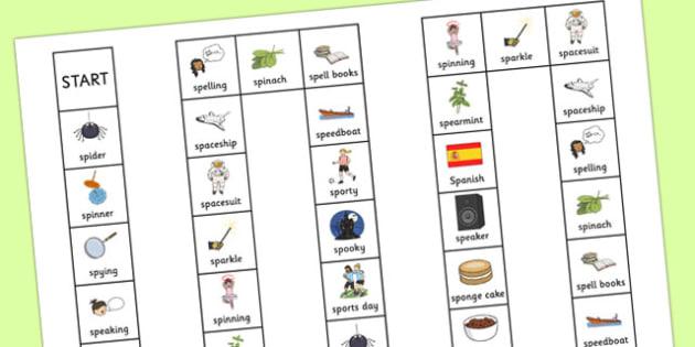 Two Syllable SP Board Game - sp, syllable, sen, sound, board game