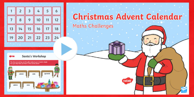 EYFS Christmas Maths Challenges Advent Calendar PowerPoint
