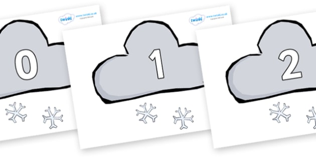 Numbers 0-31 on Weather Symbols (Snow) - 0-31, foundation stage numeracy, Number recognition, Number flashcards, counting, number frieze, Display numbers, number posters