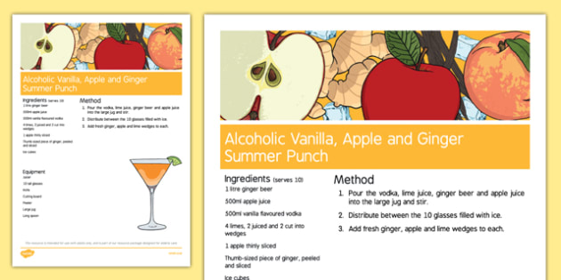 Elderly Care Summer Alcoholic Drink Recipe - Elderly, Reminiscence, Care Homes, Summer