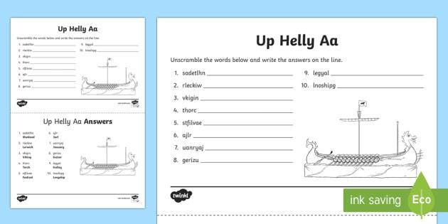Up Helly Aa Word Unscramble-Scottish - CfE, calendar events, Scotland, Scottish, traditions, history, celebrations, Shetland, Lerwick, Viki