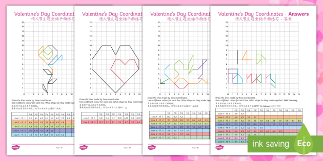 LKS2 Valentines Day Coordinates Worksheets - English ...