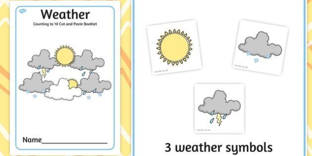 Weather Counting to 10 Cut and Paste booklet - cutting, count