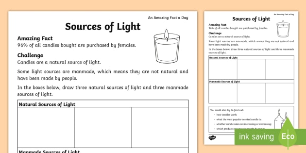 Sources Of Light Worksheet T T 2546355 on Natural And Artificial Sources Of Light Worksheet