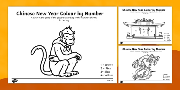 Chinese New Year Colouring By Numbers Worksheet Chinese New