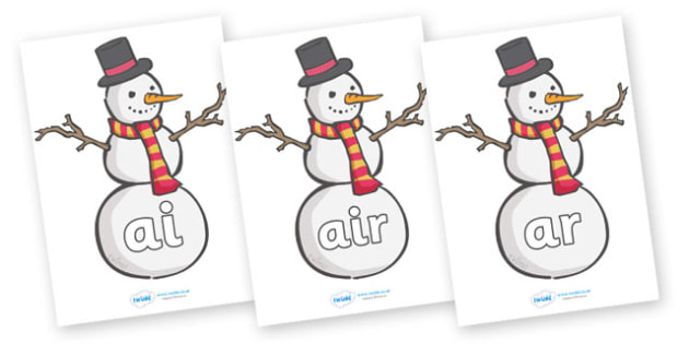 Phase 3 Phonemes on Snowmen - Snowman, winter, Phonemes, phoneme, Phase 3, Phase three, Foundation, Literacy, Letters and Sounds, Alphabet, A-Z letters, Alphabet flashcards, letters and sounds, DfES, display