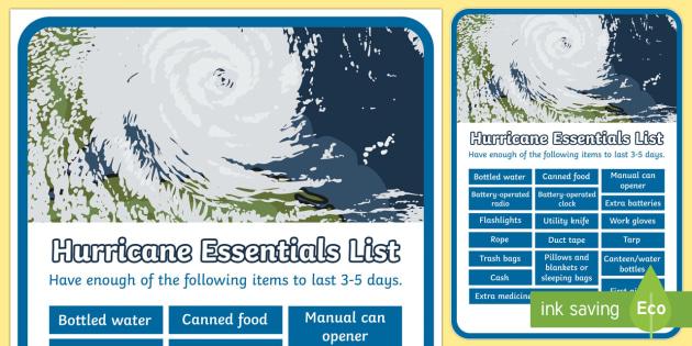 Hurricane Essentials Display Poster - Hurricanes, survival, hurricane survival, emergency, weather, extreme weather, poster, display