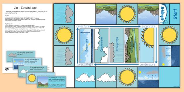 Circuitul apei în natură - Joc - circuitul apei, natură, în natură, științe, joc, board game, materiale, materiale didactice, română, romana, material, material didactic