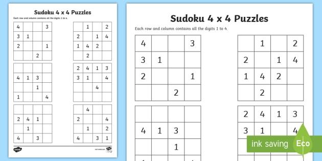 Sudoku 4 x 4 Worksheet / Worksheet - Number puzzle, Game ...