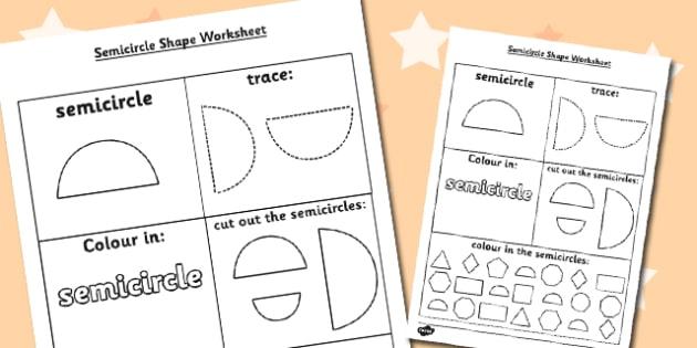 Semicircle Shape Worksheet - semicircle shape, worksheet