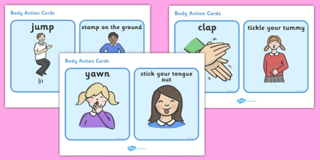 Body Actions Cards - my body, body, body action, word cards, flashcards, ourselves, all about me, emotions, feelings, shout, clap, listen, see