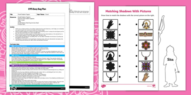 EYFS Diwali Shadow Puppets Busy Bag Plan and Resource Pack