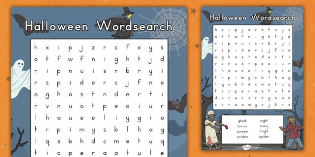 Halloween Wordsearch - topic, spooky, fun and games, searching, finding, words, activity