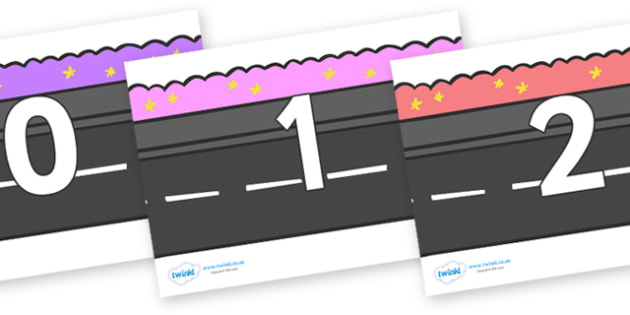 Numbers 0-31 on Roads - 0-31, foundation stage numeracy, Number recognition, Number flashcards, counting, number frieze, Display numbers, number posters