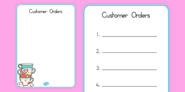 Tea Shop Role Play Order Forms - australia, tea shop, role-play, order forms