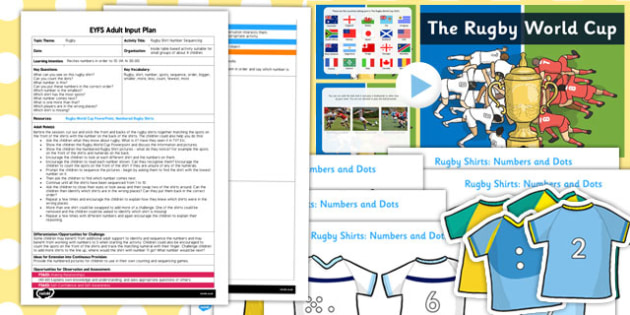 Rugby Shirt Number Sequencing EYFS Adult Input Plan and Resource Pack