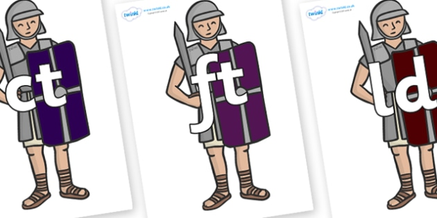 Final Letter Blends on Roman Soldiers - Final Letters, final letter, letter blend, letter blends, consonant, consonants, digraph, trigraph, literacy, alphabet, letters, foundation stage literacy