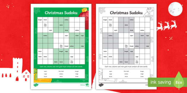 christmas words sudoku french
