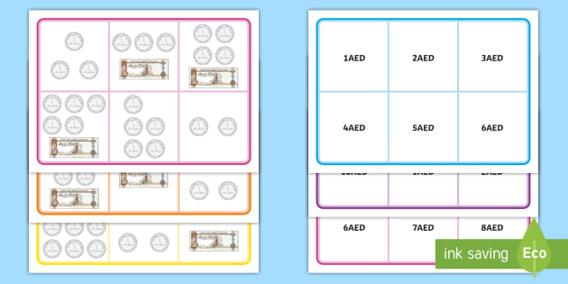 UAE Money to 10AED  Bingo - UAE Maths Resources, dirhams, AED, bingo, game, money.