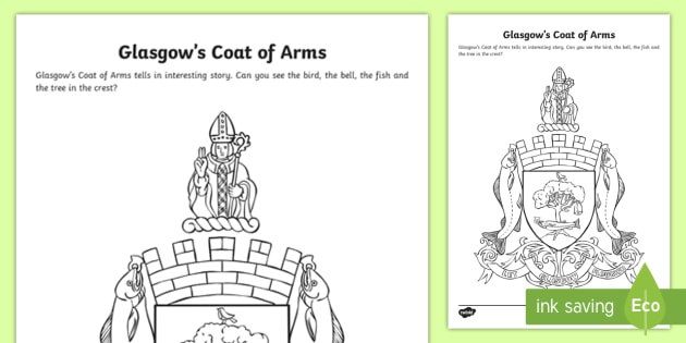 Glasgow Coat of Arms Colouring Page-Scottish - Scottish Cities, Glasgow's crest, St Mungo,Scottish