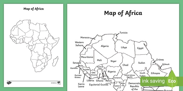 Africa Map Activity Black and White Map of Africa Worksheets   Geography Resources