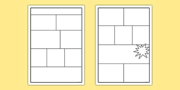 Comic Book Templates - comics, comic, comic book template, writing frame, drawing frame, drawing, picture frame, creative, comic frame, frame, writing, writing aid, writing template, template, literacy