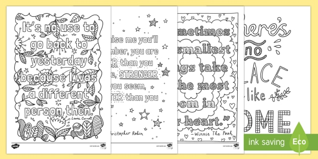 Bullet Journal Inspirational Quotes Colouring Page