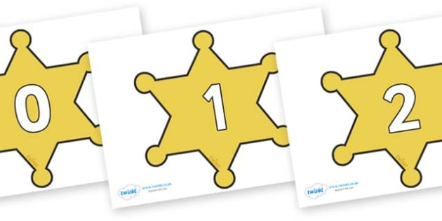 Numbers 0-31 on Sheriffs Badges - 0-31, foundation stage numeracy, Number recognition, Number flashcards, counting, number frieze, Display numbers, number posters