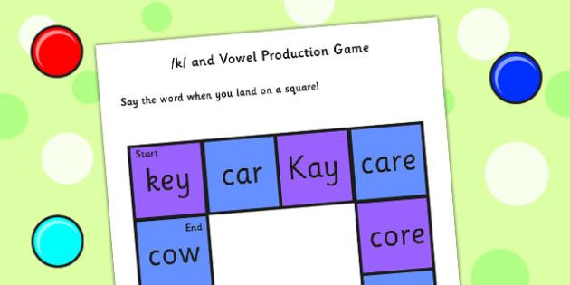 k and Vowel Production Game - k sound, vowel sound, vowels, game